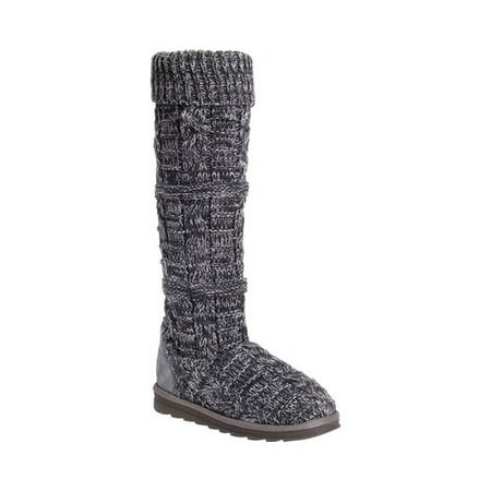 Muk Luks Womens Shelly Marl Knit Sweater Boot