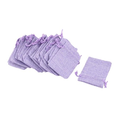 Dorm Cotton Linen Sundries Ring Necklace Holder Drawstring Bag Purple 25 Pcs (Coin Necklace Holder)