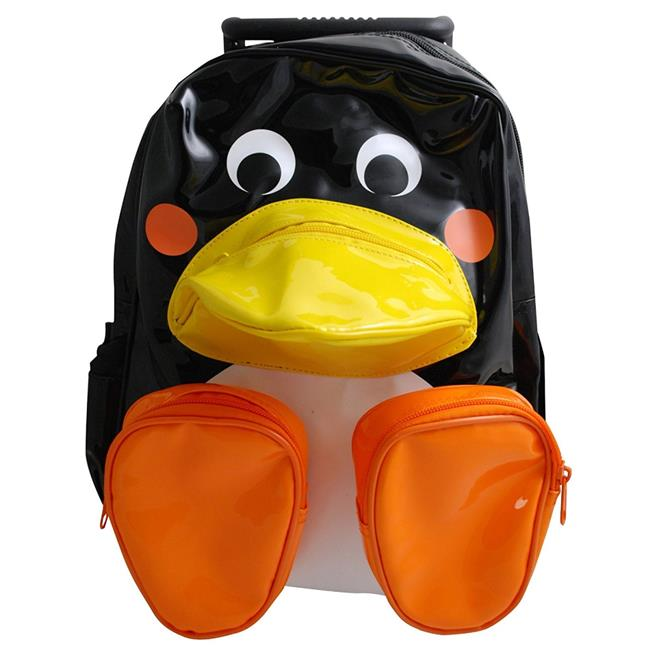 Sassafras Childrens Kid Black Penguin Pull Along Trolley Roller Backpack Bag