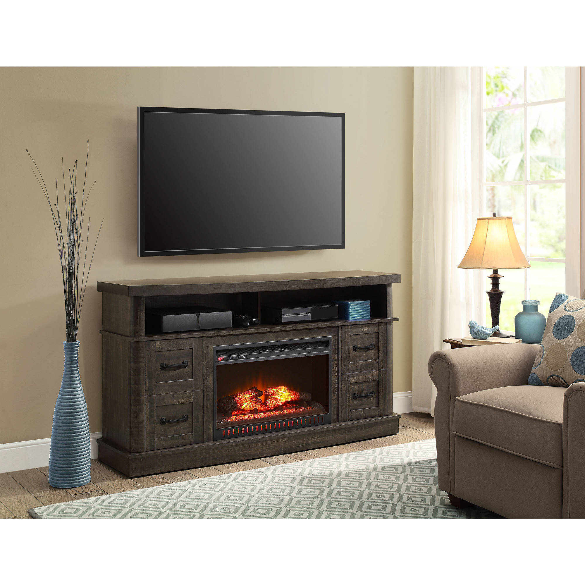 Whalen Weathered Dark Pine Media Fireplace Console for TVs