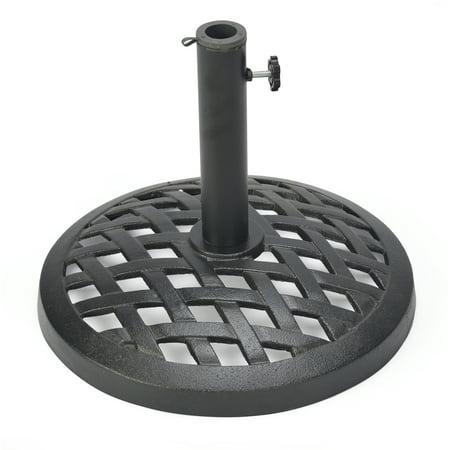 Cast Iron Umbrella Base - 17.7 Inch Diameter by Trademark Innovations (Black Finish)