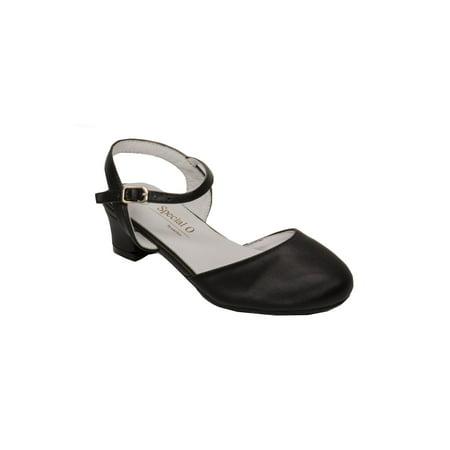 49b338195ef Pazitos Girls Black D Orsey Buckle Closure Kitten Heel Shoes