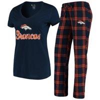 Denver Broncos Concepts Sport Women's Troupe V-Neck T-Shirt & Pants Sleep Set - Navy/Orange