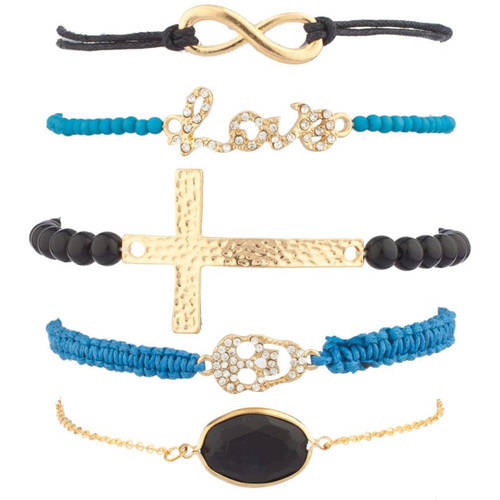 Love Infinity Cross Pave Skull Arm Candy Bracelet 5-Piece Set
