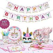 Unicorn Birthday Party Supplies Set, Serves 16, Colorful