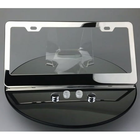 Regular Style Polish Mirror Stainless Steel License Plate Frame with Plastic Chrome - Mirror Finish License Plate