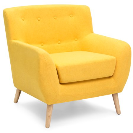 Best Choice Products Mid-Century Modern Linen Upholstered Button Tufted Accent Chair for Living Room, Bedroom - Yellow Chrome Living Room Chair