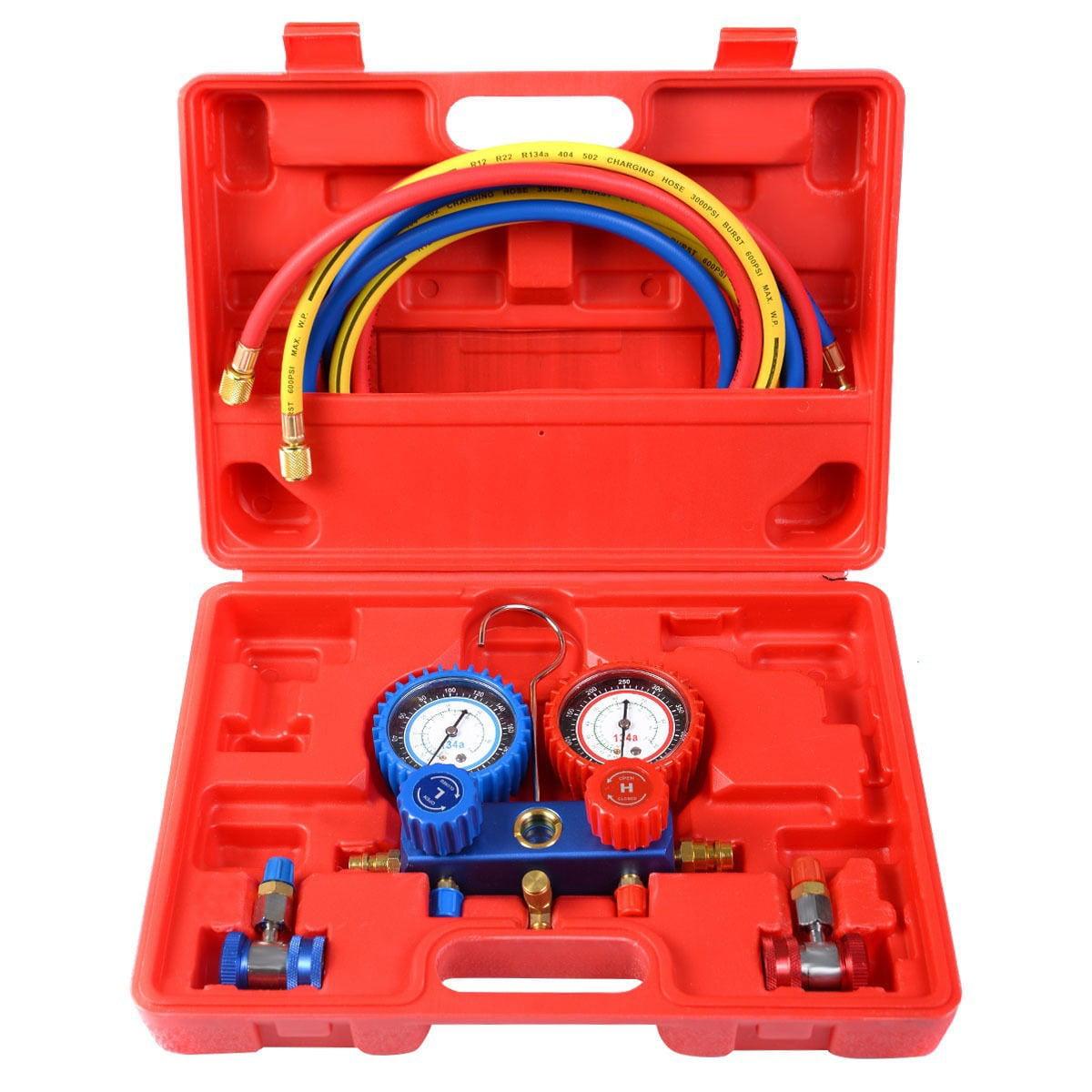 R134A Manifold Gauge Set AC A/C 6FT Colored Hose Air Conditioner w/ Case