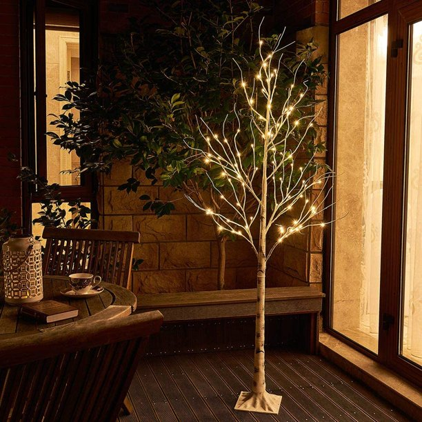 6ft White Birch Tree, Outdoor Lighted Trees Artificial