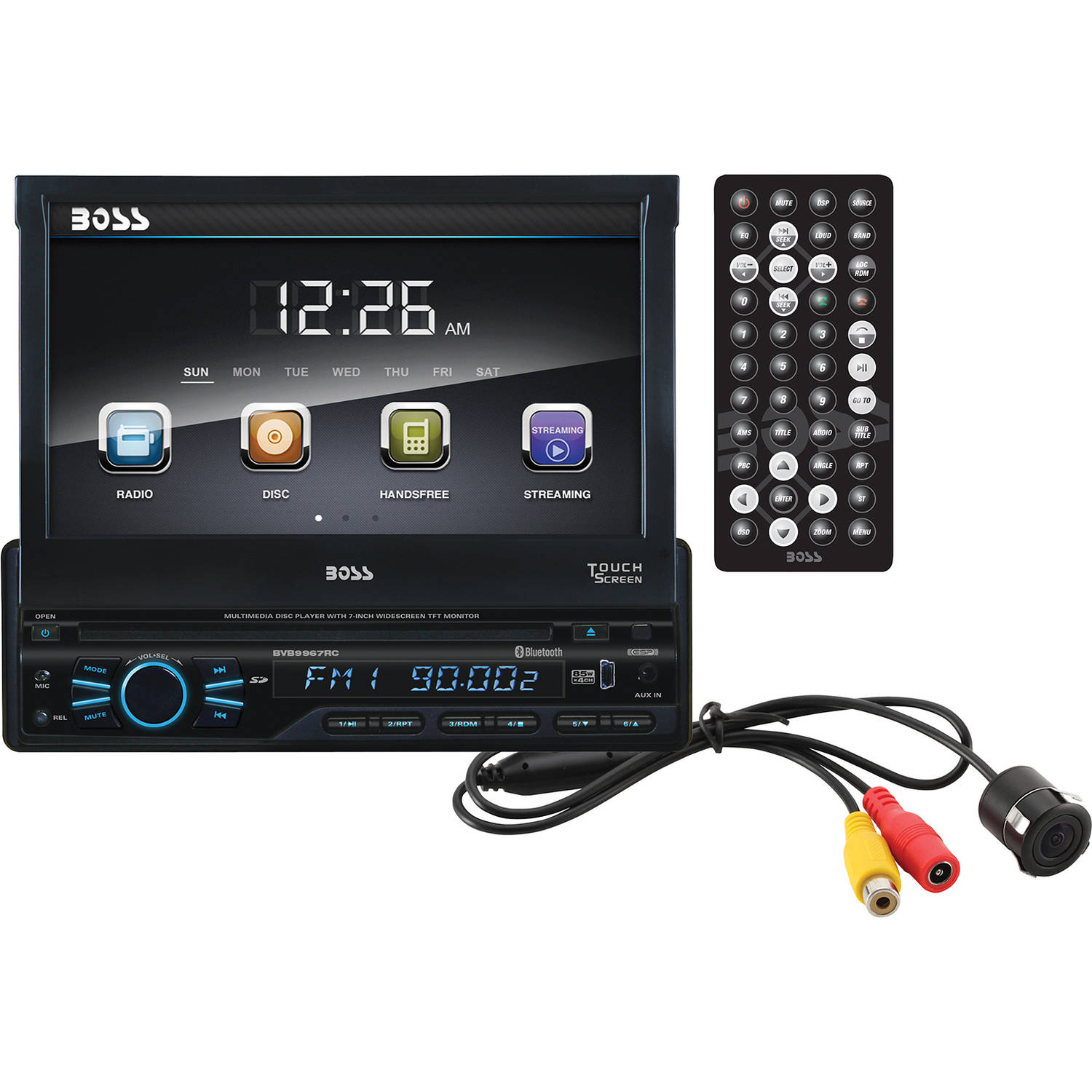 "Boss Audio BVB9967RC - Single-DIN DVD Player 7"" Motorized Touchscreen Detach Panel Bluetooth (Rear-view Camera Included)"