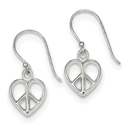 Sterling Silver Peace Sign Heart Shepherd Hook Dangle Earrings (0.9IN x 0.3IN (Sterling Peace Sign Earrings)
