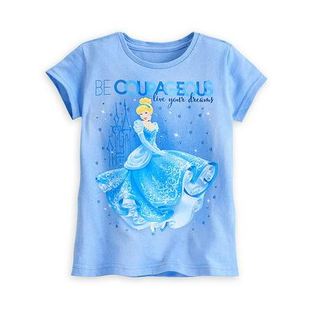 "Disney Store Girls Cinderella ""Be Courageous Live Your Dreams"" T-Shirt, Blue, Size 2/3"