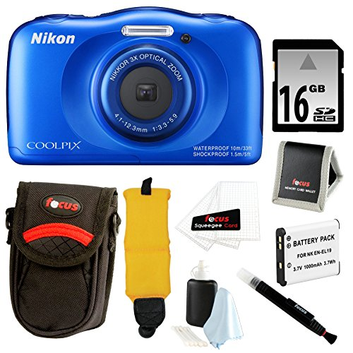 Nikon COOLPIX S33 Waterproof Camera (Blue) with Battery and Accessory Bundle