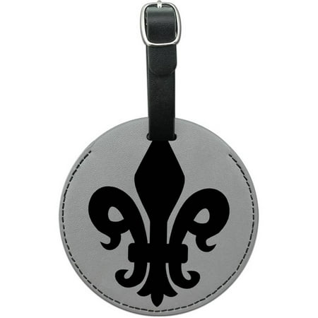 Fleur de Lis Black on White Round Leather Luggage ID Tag Suitcase Carry-On (Lisa Black Leather)