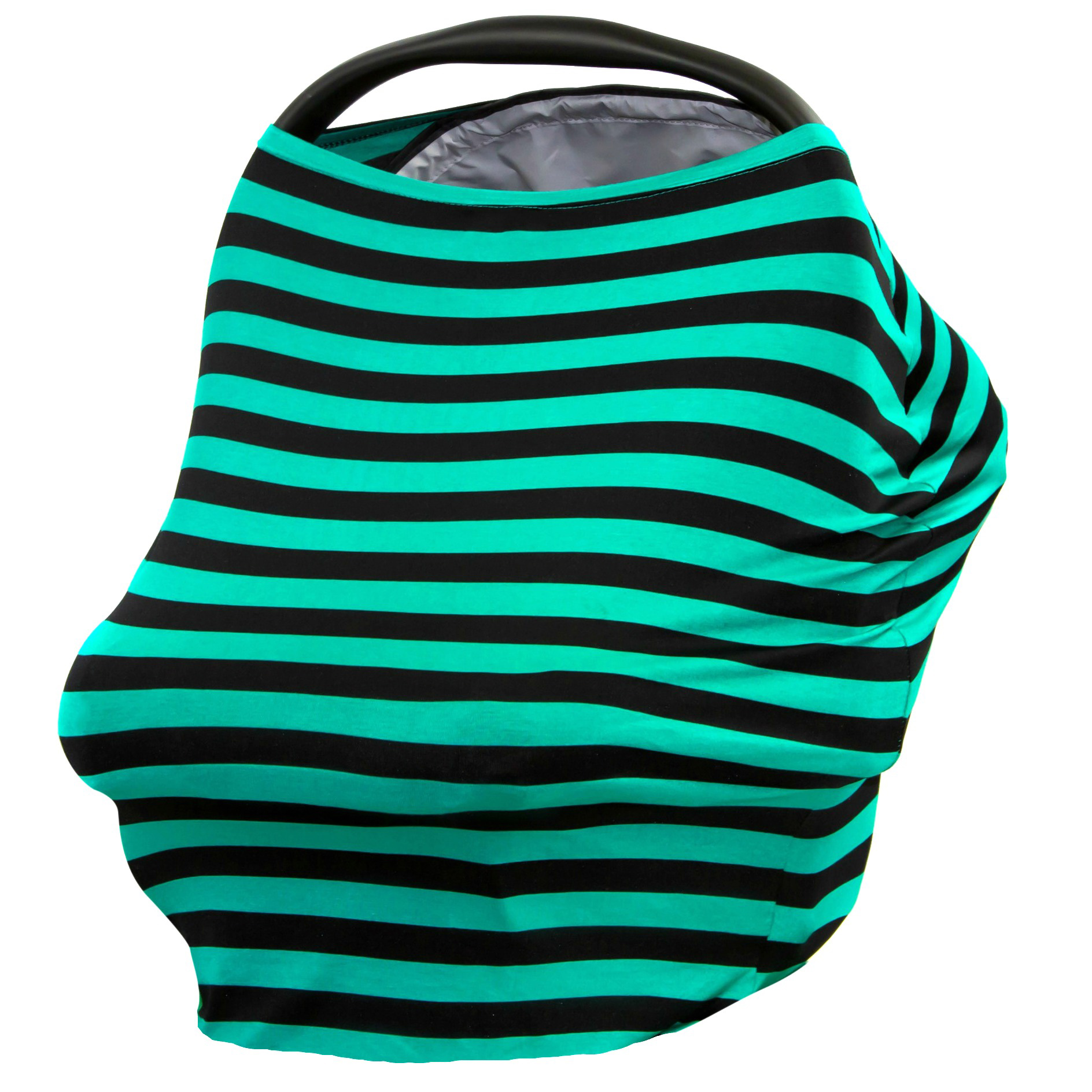 JLIKA Baby Car Seat Canopy Cover and Stretchy Nursing Cover - Teal Black Stripe