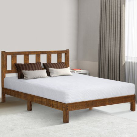 GranRest 14 Inch Deluxe Solid Wood Platform Bed with Headboard, Full
