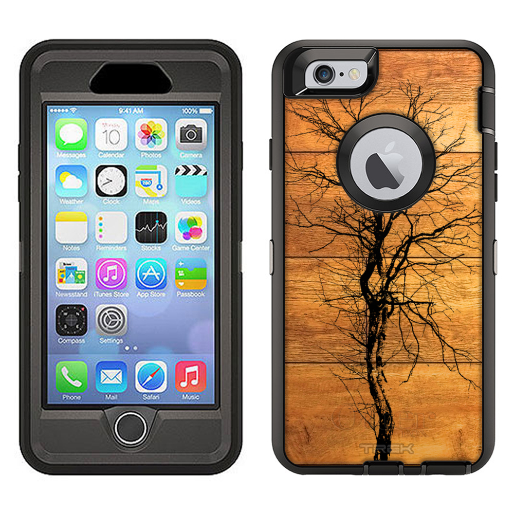 SKIN DECAL FOR Otterbox Defender Apple iPhone 6 Plus Case - Ink Tree on Wood DECAL, NOT A CASE