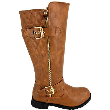 Riding Knee High (BJY-03W Womens Knee High Quilted Military Riding Combat Flat Buckle Zipper Boots Tan)