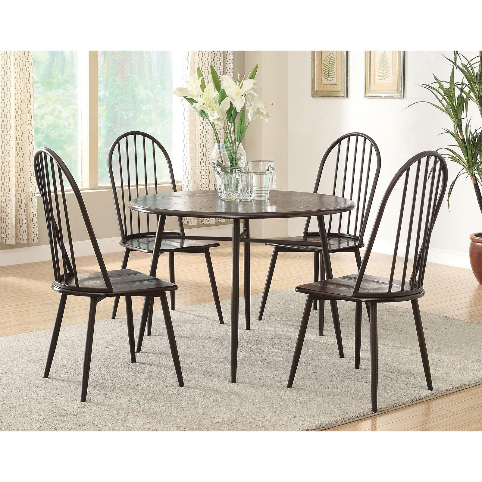 Furniture of America Metelika 5-Piece Windsor Dining Set - Matte Black