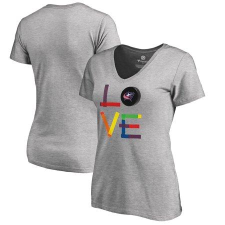 Columbus Blue Jackets Fanatics Branded Women's Hockey Is For Everyone Love Square Plus Size V-Neck T-Shirt - Heather Blue Jackets Hockey