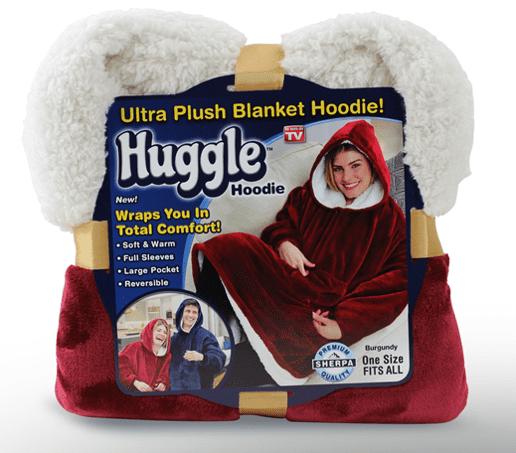 Huggle Hoodie, Ultra Plush Blanket Hoodie, Burgundy As Seen on TV