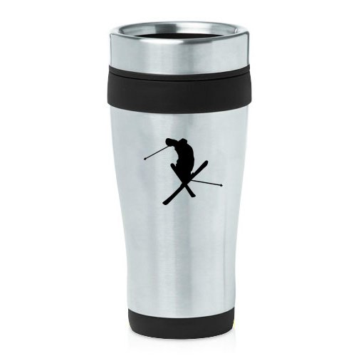 16oz Insulated Stainless Steel Travel Mug Ski Skier Extreme Sports Trick (Black ) by