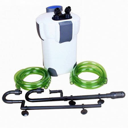 - HW-303B 3-Stage External Canister Filter with 9-watt UV Sterilizer for 200 Gallon Aquarium Fish Tank, 370 GPH
