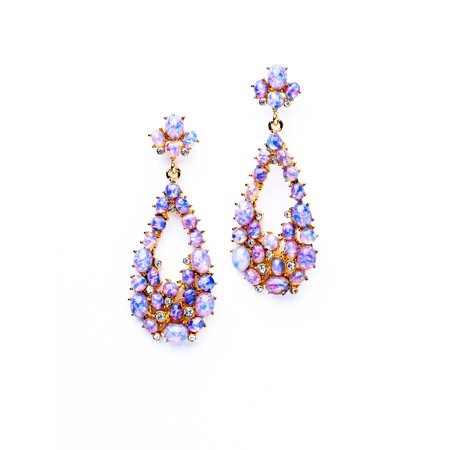 Pink Opal Teardrop Pierced Earrings Opal Flat Drop
