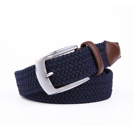 Elastic Fabric Braided Belts For Men Navy W Leather Tip Prong Buckle 1.3in Wide