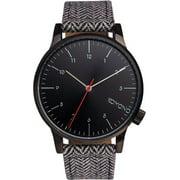 Mens Winston Heritage Herringbone Analog Stainless Watch - Pattern Leather Strap - Black Dial - KOM-W2100