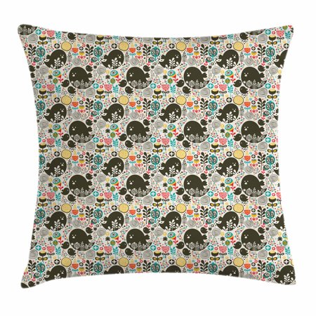 Kids Art Throw Pillow Cushion Cover, Pattern with Birds Flowers and Geometrical Shapes for Children Hand Drawn Style, Decorative Square Accent Pillow Case, 18 X 18 Inches, Multicolor, by - Pillows For Kids