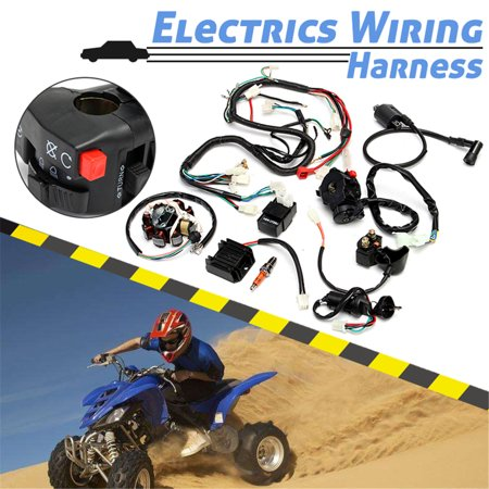complete atv electrical wiring harness for chinese dirt bike atv quad  150-250 300cc - walmart com