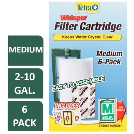 Tetra Whisper Replacement Carbon Aquarium Filter Cartridges, Med 6 - Turtle Aquarium Filters