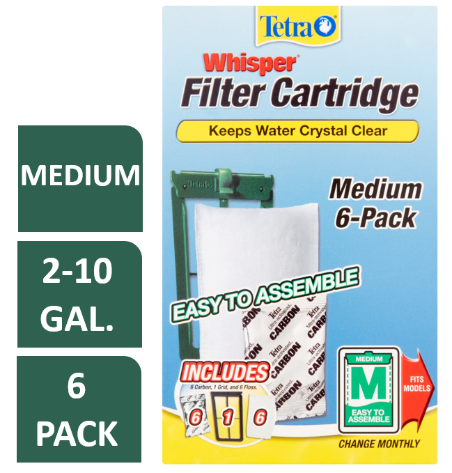 Tetra Whisper Replacement Carbon Aquarium Filter Cartridges, Med 6 ct