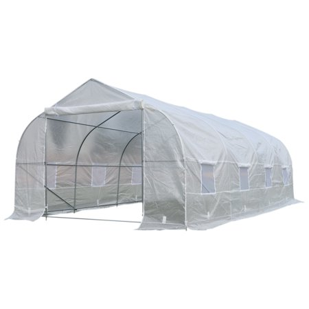 Outsunny 20' x 10' x 7' High Tunnel Walk-In Deluxe Garden Greenhouse