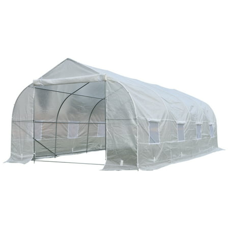 Outsunny 20' x 10' x 7' High Tunnel Walk-In Deluxe Garden Greenhouse Kit ()