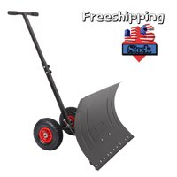 """Snow Shovel with Wheels, Adjustable Metal Snow Pusher, Heavy Duty Rolling Snow Pusher with 29"""" Plate & Anti-Skid Wheels, Efficient Snow Plow Suitable for Driveway or Pavement Clearing, L2787"""