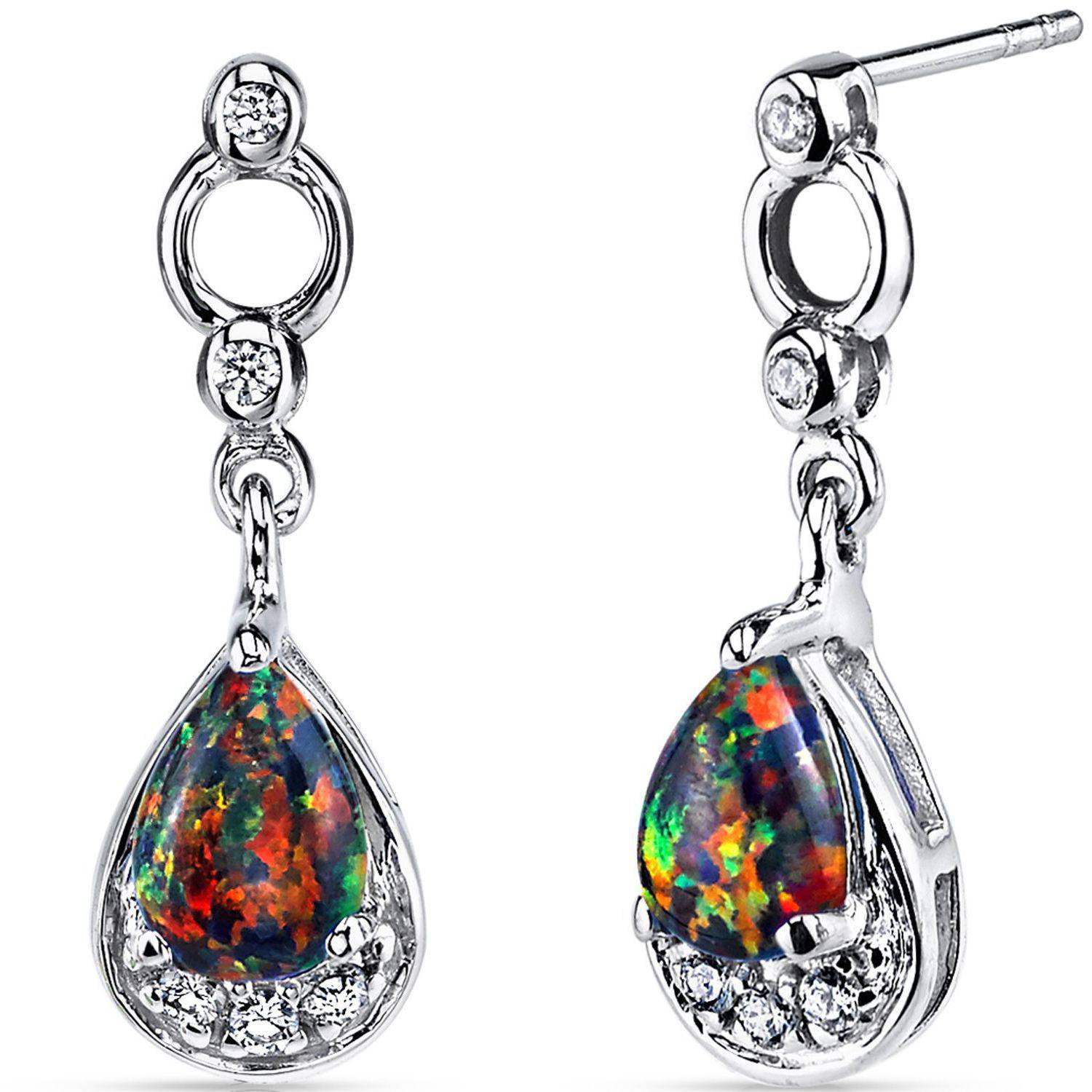 Oravo 1.00 Carat T.G.W. Teardrop-Shape Black Opal Rhodium over Sterling Silver Drop Earrings