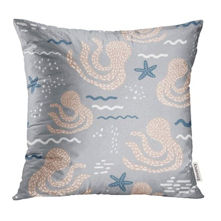 YWOTA Blue Sea with Abstract Octopus and Starfish Scandinavian Childish Pink Baby Black Pillow Cases Cushion Cover 20x20 inch - Starfish Pink