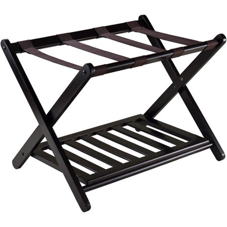 Winsome Reese Wooden Luggage Rack with Shelf, - Large Luggage Rack