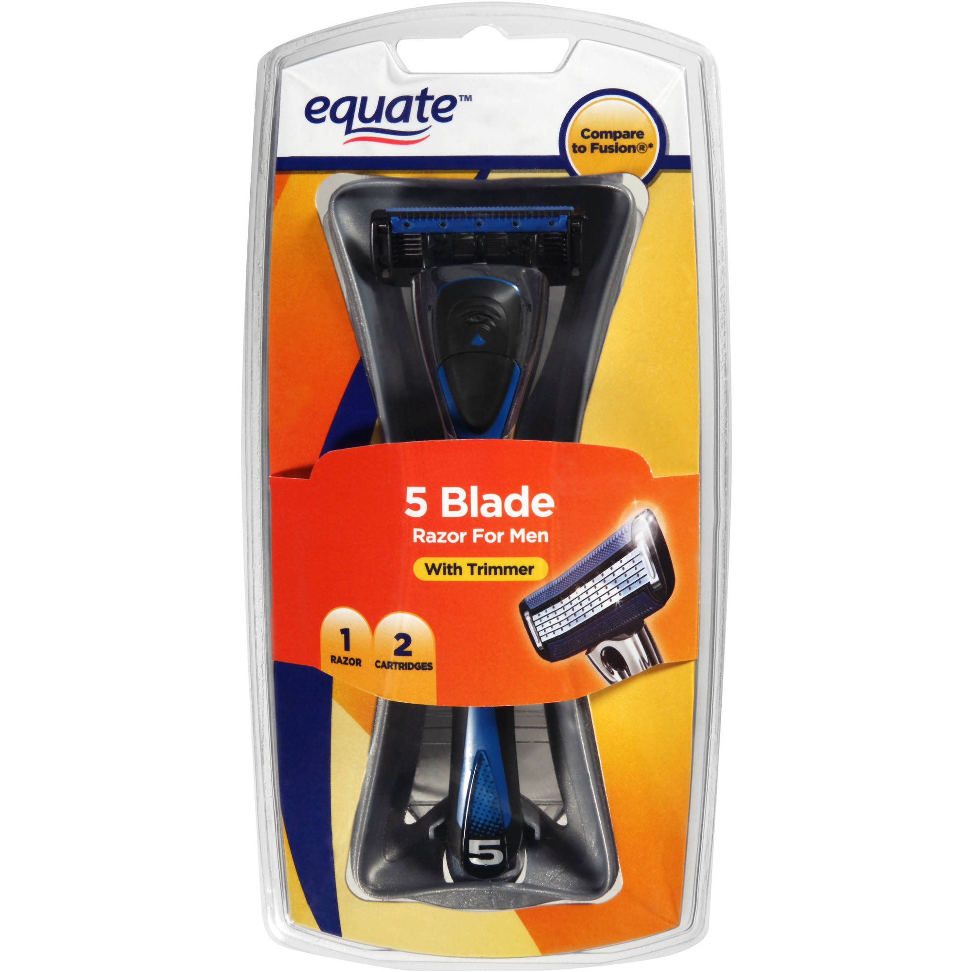 Equate 5 Blade Razor for Men with Trimmer, 3 pc
