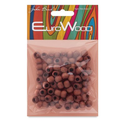 John Bead Euro Wood Beads - Light Brown, Round, Large Hole, 8 mm x 6.5 mm, Pkg of 100