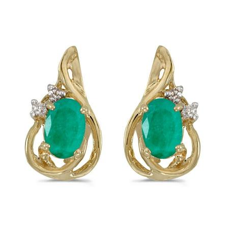 14k Yellow Gold Oval Emerald And Diamond Teardrop Earrings