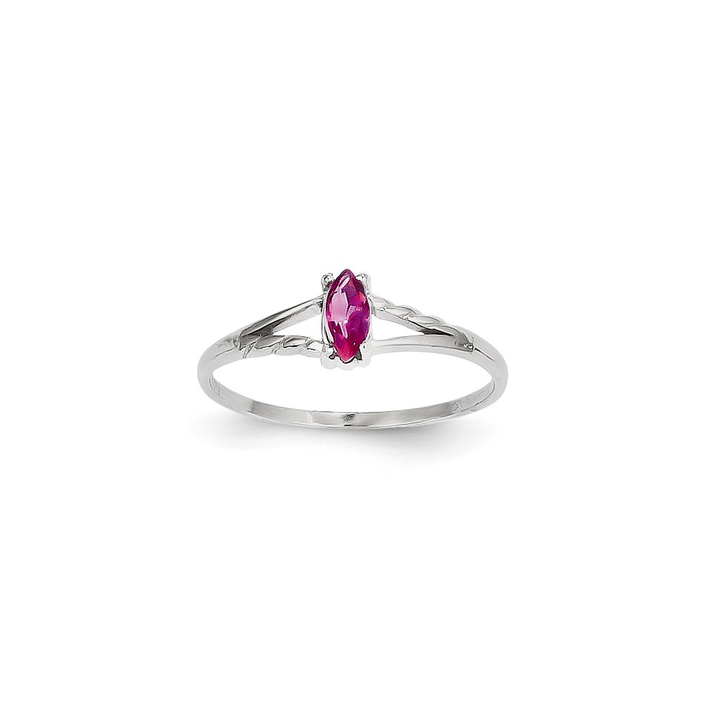 14K White Gold Pink Tourmaline Birth Month Ring Size-6 by