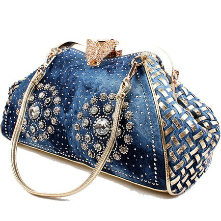 Coofit Women's Denim Purse Knitted Crossbody Bag with Shiny Rhinestone Tote Bag Handbags for Women ()