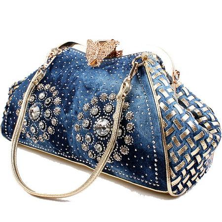 Woven Hobo Handbag - Coofit Women's Denim Purse Knitted Crossbody Bag with Shiny Rhinestone Tote Bag Handbags for Women