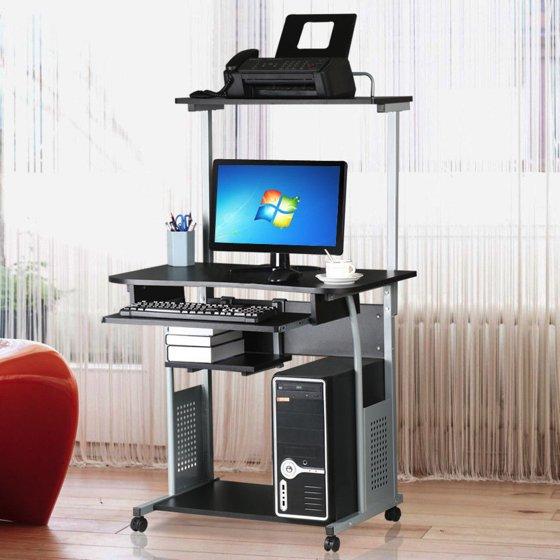 ktaxon rolling computer desk laptop home office study. Black Bedroom Furniture Sets. Home Design Ideas