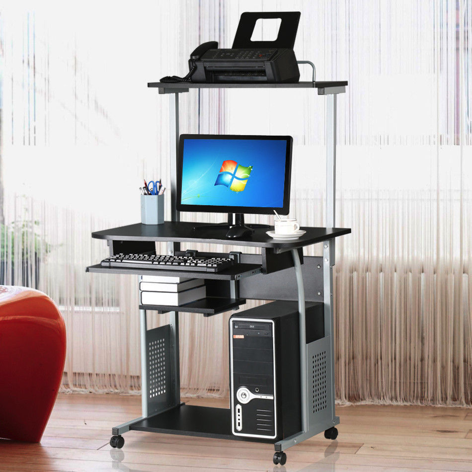 Ktaxon Rolling Computer Desk Laptop Home Office Study