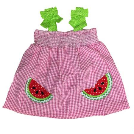 Infant Girls Pink & White Checked Watermelon Sun Dress Green Polka Dot Sundress Pink Dog Sundress