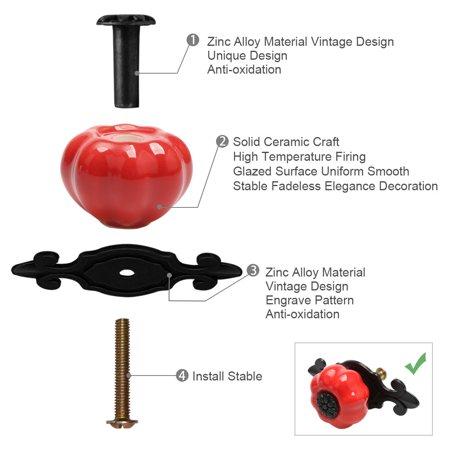 Ceramic Knobs Drawer Pumpkin Pull Handle for Cupboard Wardrobe Dresser Door Red - image 5 of 8